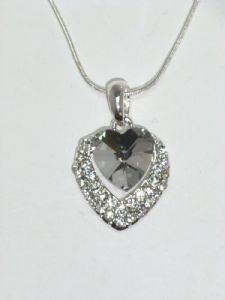 Large Gem and Crystal Edge Heart Pendant